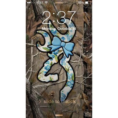 Day 14 ; lock screen ; Browning Camo Blue Bow pretty cute lockscreen time lock password wifi slidetounlock