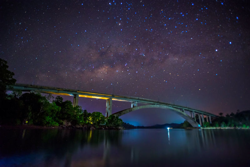 Milkyway Over The Bridge Architecture Astronomy Batam Bridge - Man Made Structure City Connection Galaxy INDONESIA Nature Night Outdoors The Great Outdoors - 2016 EyeEm Awards Water