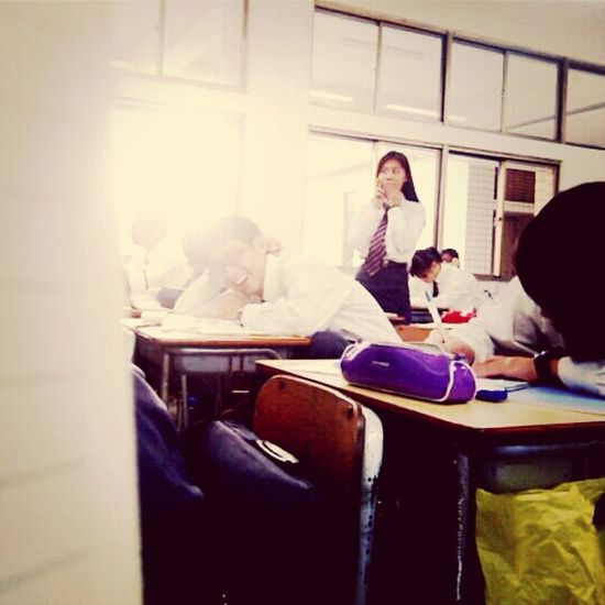 she playing Orangein Geography Class ^_^ .. so she to be made to stand still as a punishment. Crazy Girl