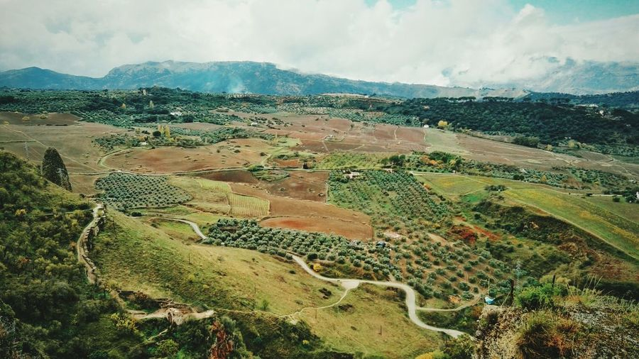Aerial view of rural landscape