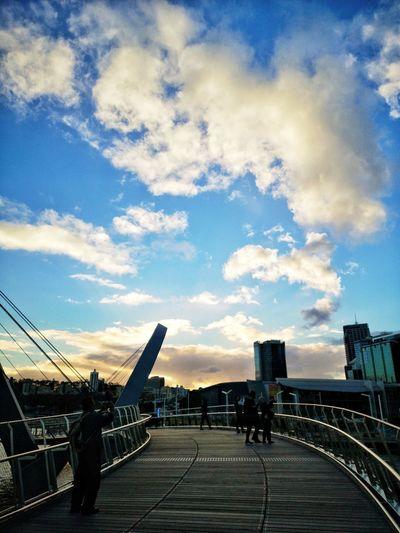 Sunset on Elizabeth Quay City Sky Architecture Cloud - Sky Built Structure Railing Footbridge Bridge - Man Made Structure