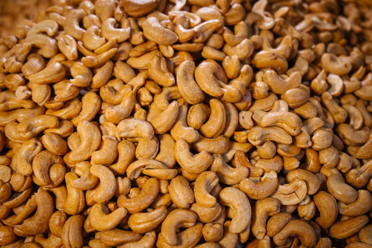 Heap of salted roasted cashew nuts