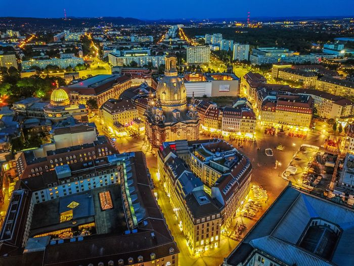 Dresden Illuminated Night High Angle View Architecture Building Exterior Cityscape No People Built Structure Outdoors City Sky Drone  Dji Mavic Pro Mavic Cosmic Long Exposure Nightphotography Night Photography Frauenkirche