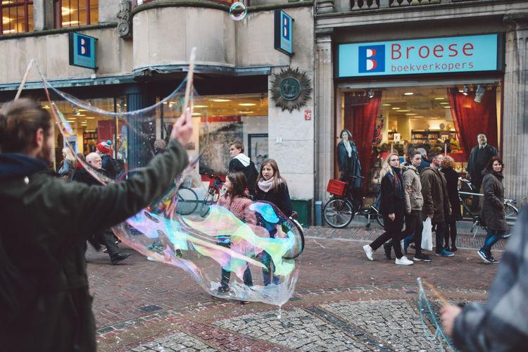 Architecture Baloons Children City City Life Day Men Outdoors People Soap Bubbles Travel Destinations