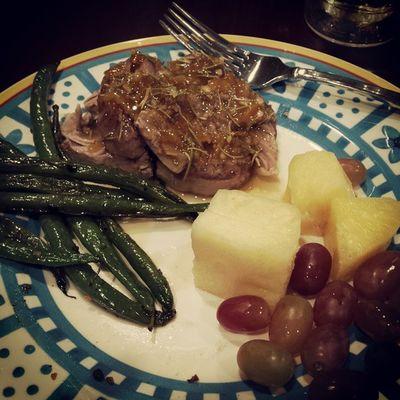 Orange marmalade pork tenderloin, garlic roasted green beans, and broccoli and fruit! Dinner Yummy Iamgood