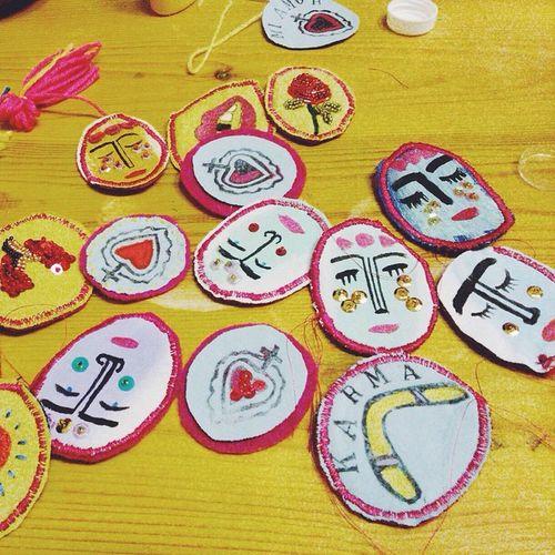 ✌️✌️✌️ Brooch Handmade Heart Exvoto portrait pailettes beads clorophillaart