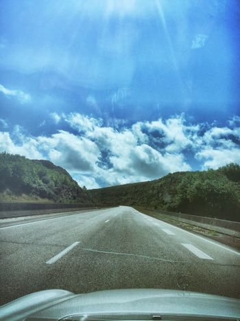 The Way Forward Journey Landscape_Collection Landscape_photography Landscape Vanishing Point Diminishing Perspective Traveling Transportation The Destination Is The Journey Roads France Windshield Windscreen Interior To Exterior View
