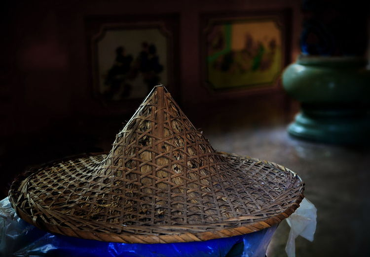 Ancient Chinese Hat. Ancient Bamboo Hat Chinese Hat Culture And Tradition Indoors  No People Retro Style