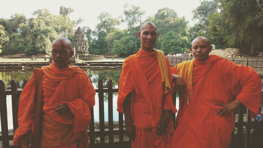 I had he chance to talk with these three monk, real man with great hearthEyeEm Diversity Orange Color Religion Only Men Standing Tradition Men Adult Tree Spirituality Shaved Head People Togetherness Real People Adults Only Day Outdoors Young Adult Cambodia Monk  Travel Travel Photography Nature The Secret Spaces Tree