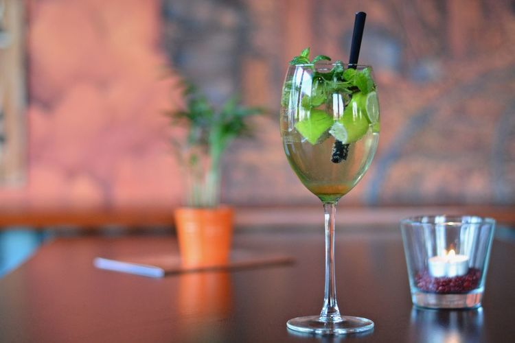 Close-Up Of Refreshing Drink With Mint And Lemon