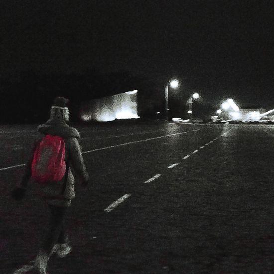 Monochrome Balckandwhite Night Light And Shadow Pink Walking