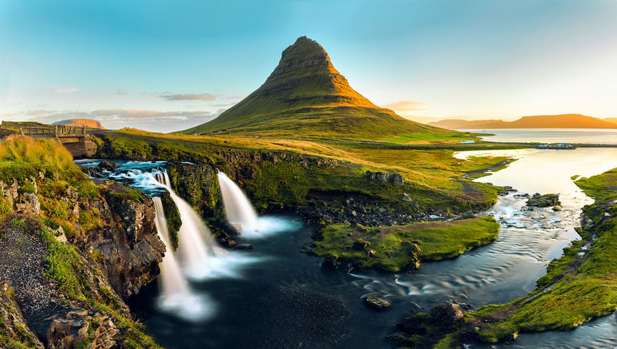 Golden Kirkjufell. Adventure Dengler Golden Golden Hour Iceland Iceland_collection Kirkjufell Landscape Landscape_Collection Long Exposure Matthias Mountain Mountain View Nature Panorama Snapshopped Stream - Flowing Water Sun Sunlight Sunrise Sunset Travel Water Waterfall Waterfalls