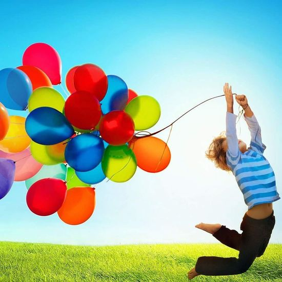 Happy Helium Balloon Balloon Child Females Multi Colored Cheerful Human Hand Party - Social Event Happiness Sport