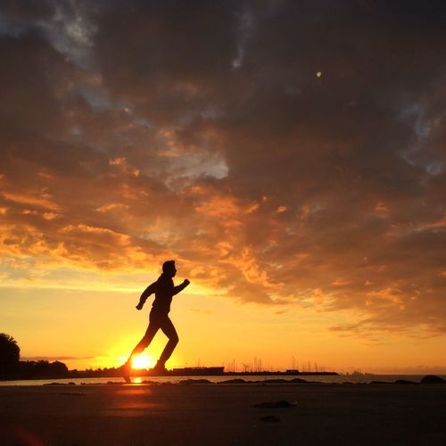 That's Me Selfportrait Sunrise Enjoying Life Running Landscape Silhouette Clouds And Sky Light And Shadow