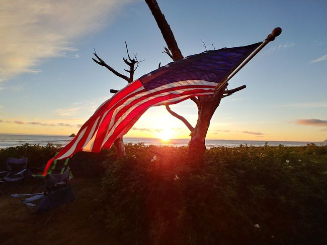 Patriotic Sunset Sunset Sea Water UnderSea Flag Sky Cloud - Sky Landscape Sun Orange Color Shining