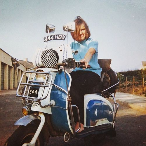 """""""Scooter Girl"""" A picture of my mother from the 1960s. This was my father's 1959 Li150 series 1 Lambretta scooter. Lambretta Li150 Scooter 1960s 1960sfashion Mods Wearethemods Quadrophenia SouthMolton Braunton"""