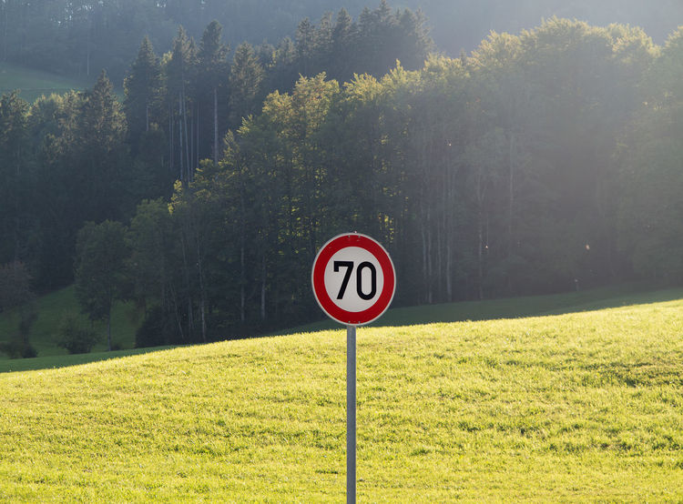 Speed limit sign 70 in rural area 70 Country Road Rural Traffic Transportation Day Field Germany Grass Green Color Information Kilometers Maximum Nature No People Non-urban Scene Number Outdoors Plant Road Road Sign Sign Speed Limit Sign Tree Warning Sign