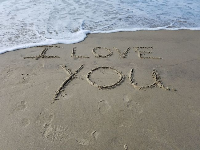 I love you to my husband Beach Beauty In Nature Day I Love My Dog I Love You Love Note Nature No People Note' Outdoors Sand Shore Text Track - Imprint