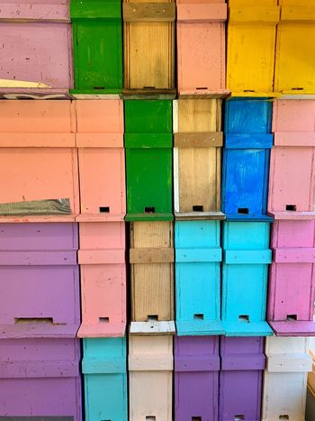 Beehives Multi Colored Full Frame Architecture Backgrounds No People Built Structure Side By Side Wood - Material