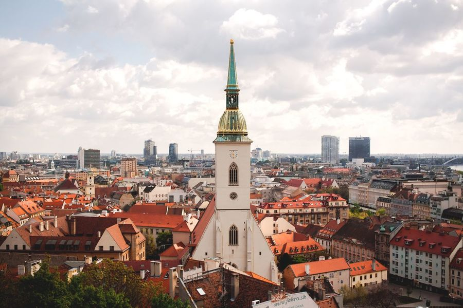 Architecture Building Exterior Built Structure Cityscape City Cloud - Sky Tower Crowded Sky Day Travel Destinations Outdoors Spirituality Place Of Worship Community Tree Bell Tower Bratislava Bratislava, Slovakia Slovakia Old Town Oldtown Old Architecture Old Buildings City