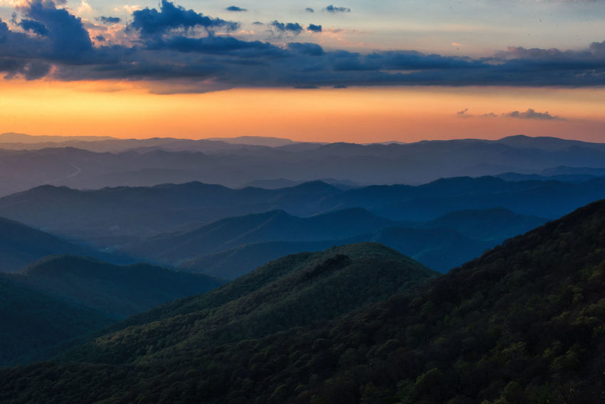 Beauty In Nature Blue Ridge Mountains Craggy Gardens Day Landscape Mountain Mountain Range Nature No People Outdoors Scenics Sky Sunset Tranquil Scene Tranquility