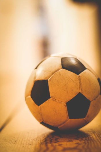 Close-up of soccer ball in the hallway