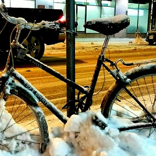 Bicycle in the snow Bicycle Parking