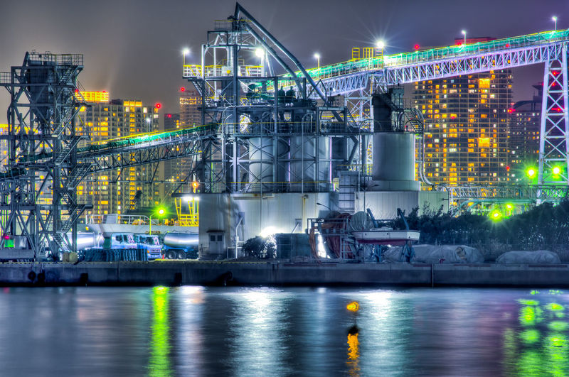 Water Night Architecture Illuminated Building Exterior Industry Built Structure River Transportation Fuel And Power Generation City No People Factory Business Nature Lighting Equipment Outdoors Motion Harbor Light Habour Tokyo Tokyo Night Japan Japan Photography Cement Plant HDR Hdrphotography High Dynamic Range Pentax