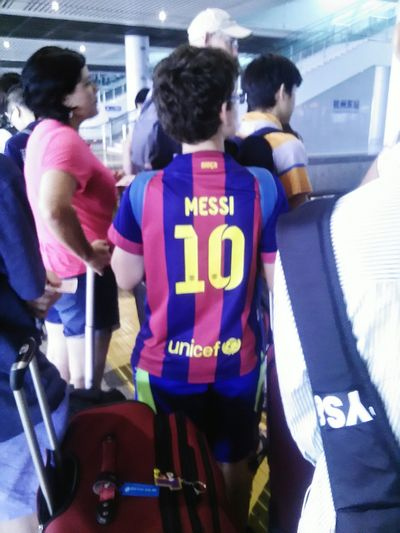 """I am so excited to see the boy in the sports suits. Messi is my favourite football player. The boy said:""""you too""""!@humansofzjut Humansofzjut"""