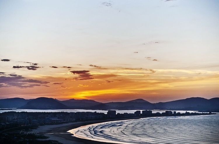 Sunset Outdoors Orange Color High Angle View No People Cloud - Sky Science Road Nature Urban Skyline Sun Water Mountain Beauty In Nature Sky Day Laredo Cantabria Spain