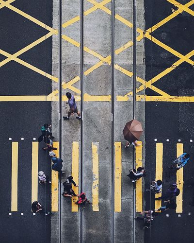 Directly above shot of people on zebra crossing