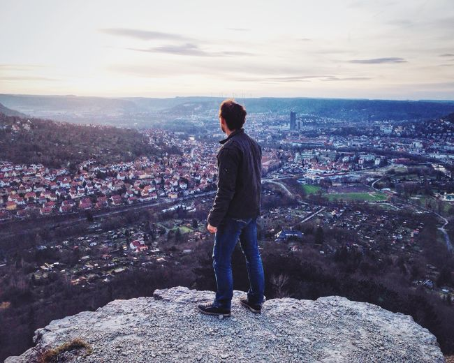 Man City Cityscapes Cityscape City Life Citylife City View  Discover Your City Jena Thuringia Germany View From Above Mountain Travel One One Person Lifestyle People Standing Sunset Backlight The Portraitist - 2016 EyeEm Awards Day Looking IPhoneography