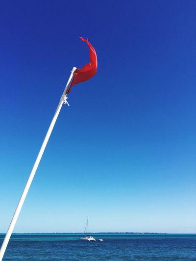 Flag Wind Beach Ocean Boat Sea And Sky Redflag EyeEm EyeEm Germany What A View EyeEm Landscape Eyeem Sea Blue Sky Blue Sea Blue Wave My Year My View