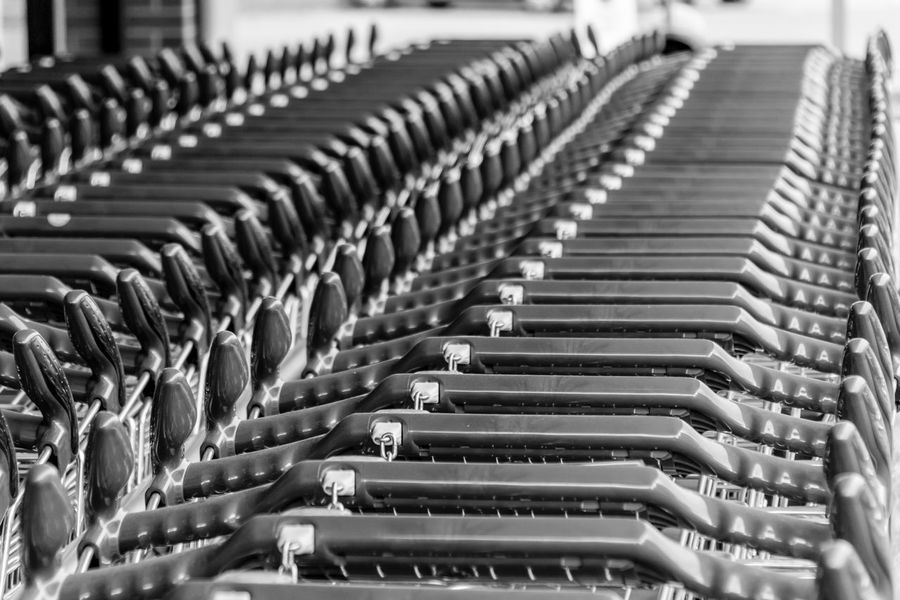 Abundance Arrangement Berlin Photography Berliner Ansichten Black & White Cart Close-up Einkaufswagen Empty EyeEm Best Edits EyeEmBestPics Focus On Foreground In A Row Large Group Of Objects No People Repetition Shopping Cart Shopping Carts Trolley Trolleys Resist