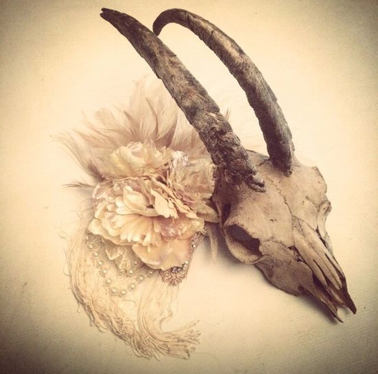 Skull & Flowers Skull Skull & Flower Rams Skull Animal Skull Hairpiece Hair Accessory Prop