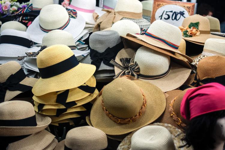 Full Frame Shot Of Hats On Floor