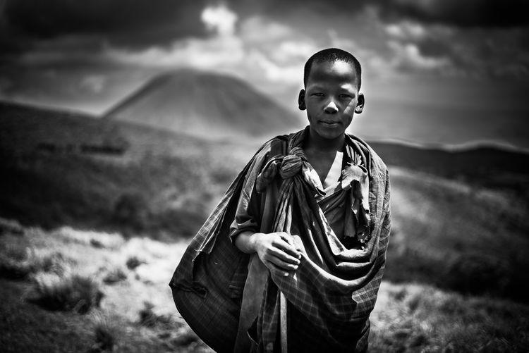 Africa Black And White Blackandwhite Photography Boy Countryside Massai Ngorongoro Conservation Area Ol Doinyo Lengai Portait Sky Sky And Clouds Tansania Tanzania Tribal The Portraitist - 2017 EyeEm Awards The Great Outdoors - 2017 EyeEm Awards EyEmNewHere