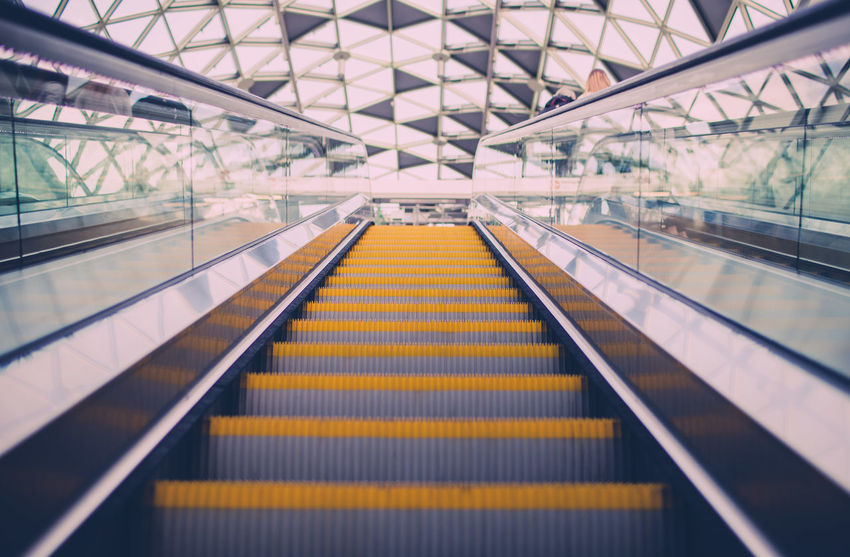 Architecture Composition Engineering From My Point Of View Low Angle View Metal Metro Modern Perspective Speed Staircase Stairs Steps And Staircases The Architect - 2016 EyeEm Awards