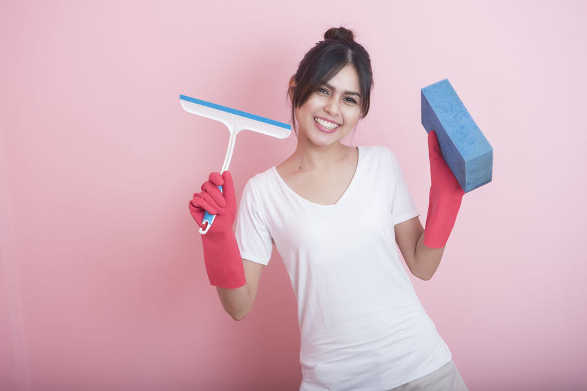 Attractive Cleaning Girl Home Work House Wife One Person Pink Color Work Young Adult Young Women