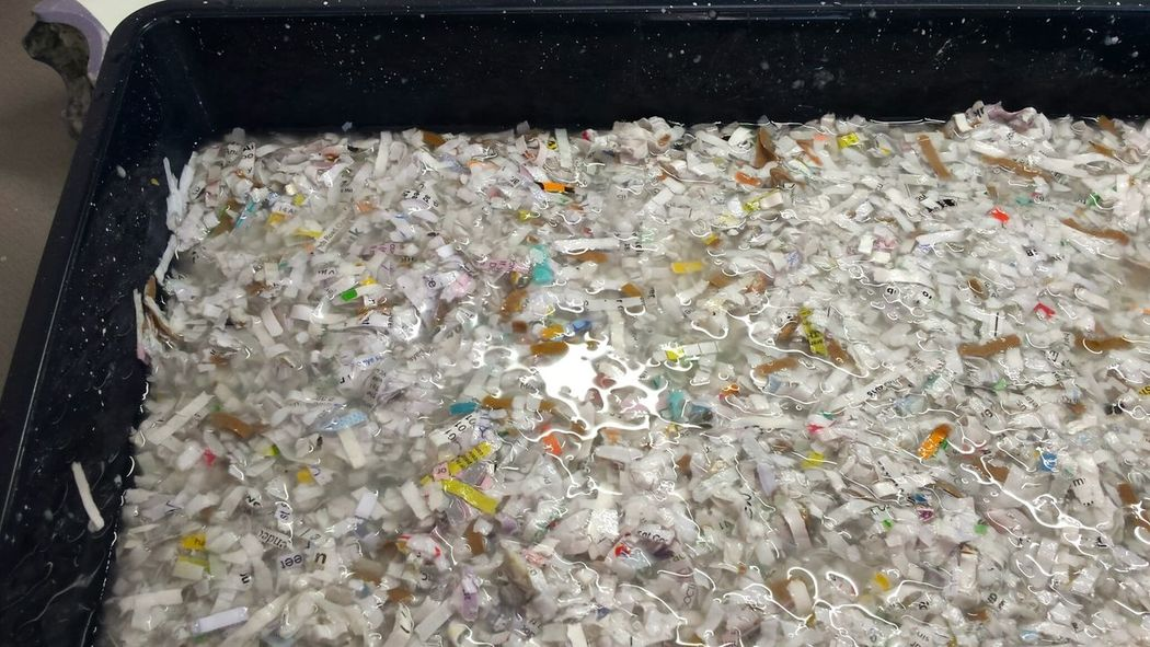 Add fresh water ready to pulp. Textures And Surfaces Paper View Handmade Blitz Soaking Wet Creative Water Shiny Reflection Water Reflections Art Mushy Not Food Playtime Kitchen Craft Making Materials DIY Tray Shredded Newspaper Paper Pulp Paper Making Papercraft