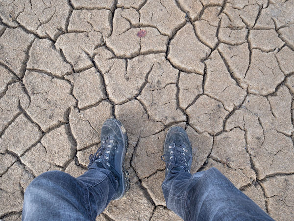 drought Aridness Barren Dried Field Drought Drought Period Elevated View Future Vision Ground Heatwave Hot Human Foot Natural Disaster Personal Perspective Standing