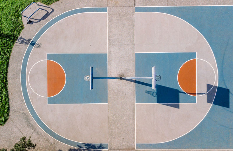 High Angle View Of Basketball Court During Sunny Day