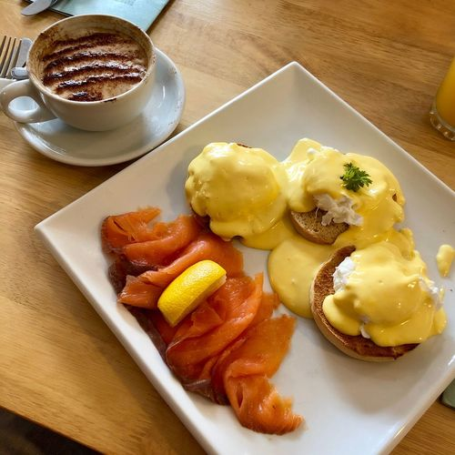 Eggs Royale - perfect breakfast?! EyeEmNewHere Eggs Benedict Breakfast Eggs Benedict Eggs For Breakfast Food And Drink Food Freshness Plate Ready-to-eat Still Life High Angle View Indulgence Coffee No People Coffee - Drink Breakfast