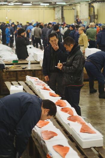Adult Crowd Day Large Group Of People Men Outdoors People Place Of Worship Real People Religion Tsukiji Fish Market Tsukijifishmarket Tuna Tuna Auction Tuna Fish Tunaauction Women
