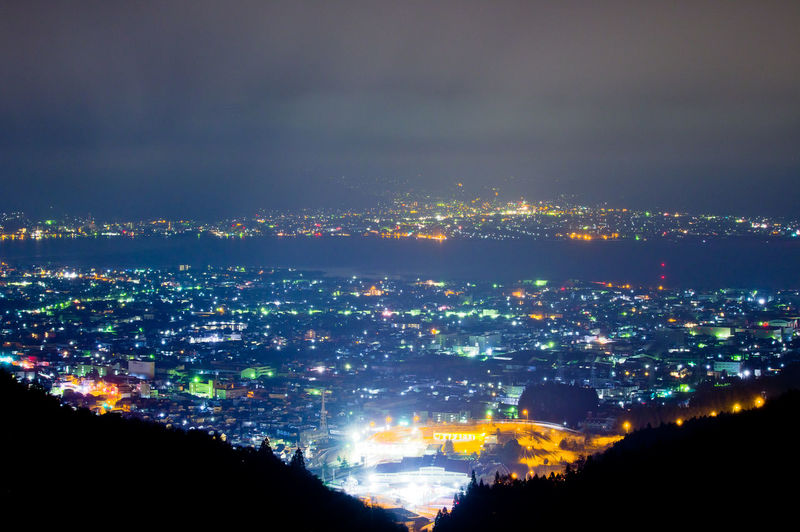 City Cityscape Architecture Sky Building Exterior Nature Built Structure Illuminated Cloud - Sky Environment Landscape Aerial View High Angle View Outdoors Night No People Building Urban Skyline Dark Modern Light Suwa Lake Lake View Suwa Lake Nightphotography Nagano Japan Japan Photography