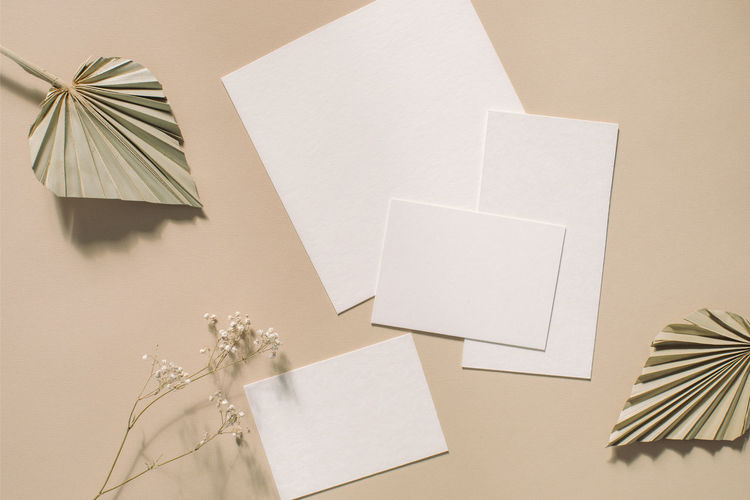 Blank papers on table