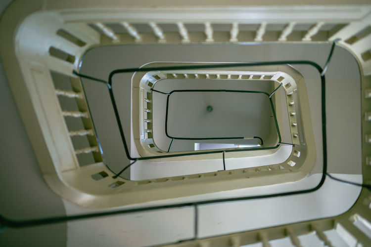 Close-up Computer Equipment Connection Design Directly Above Directly Below Full Frame High Angle View Indoors  No People Pattern Railing Spiral Spiral Staircase Staircase Steps And Staircases Still Life Technology White Color