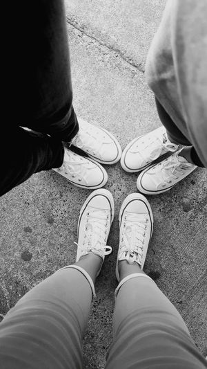 Matching EyeEmNewHere Converse Converse All Star Matching Mommylife Mommyandme Just Chillin' Justhanging Hanging Out Love Loveshoes Blackandwhite Black And White People Foot Footpath Standing Shoe EyeEmNewHere Visual Creativity