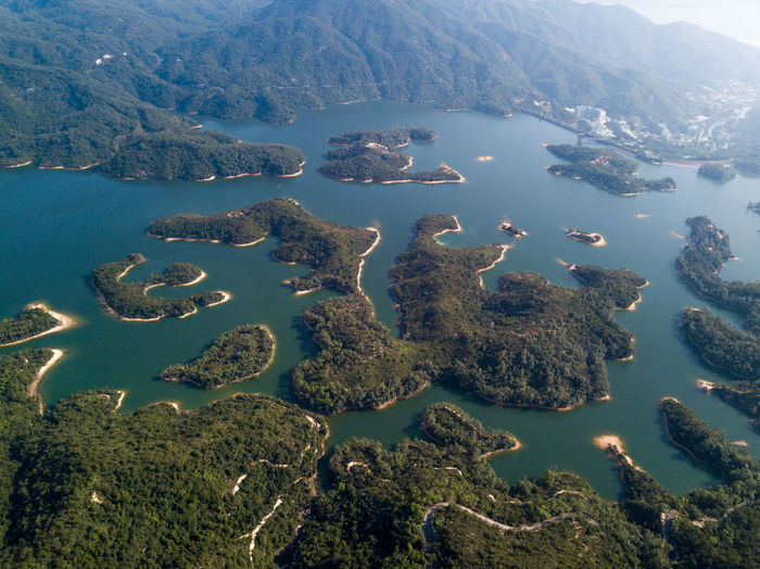 Water Beauty In Nature Scenics - Nature Tranquil Scene Tranquility Mountain Nature No People Day Aerial View High Angle View Non-urban Scene Idyllic Environment Lake Outdoors Land Plant