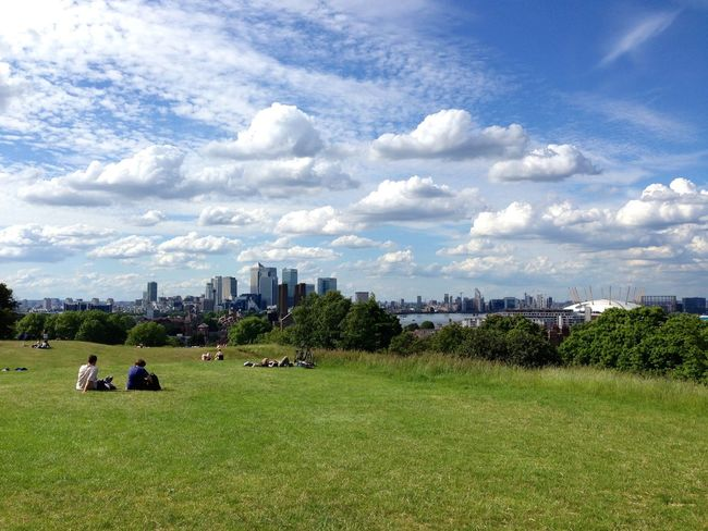 Canary Wharf Clouds Greenwich Greenwich Park London Sky